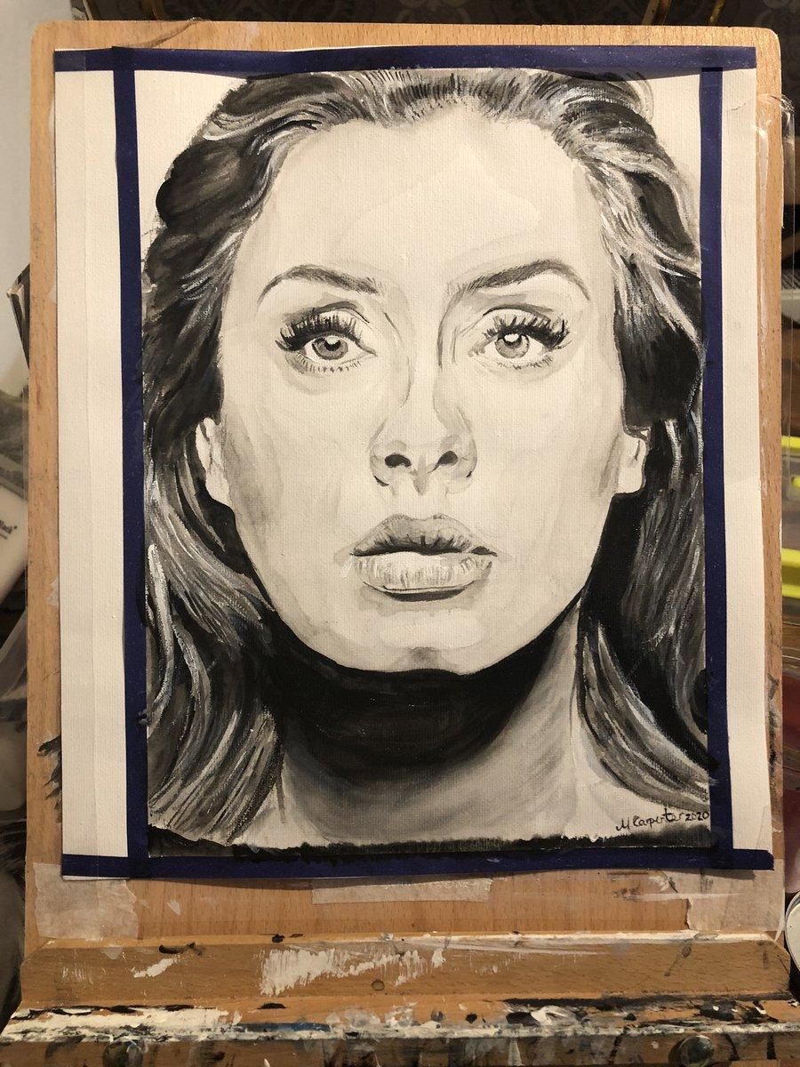 #Adele #portrait #art #artshare #artwork #acrylicpainting #blackandwhiteart #paintingpic.twitter.com/19Manr2d5i