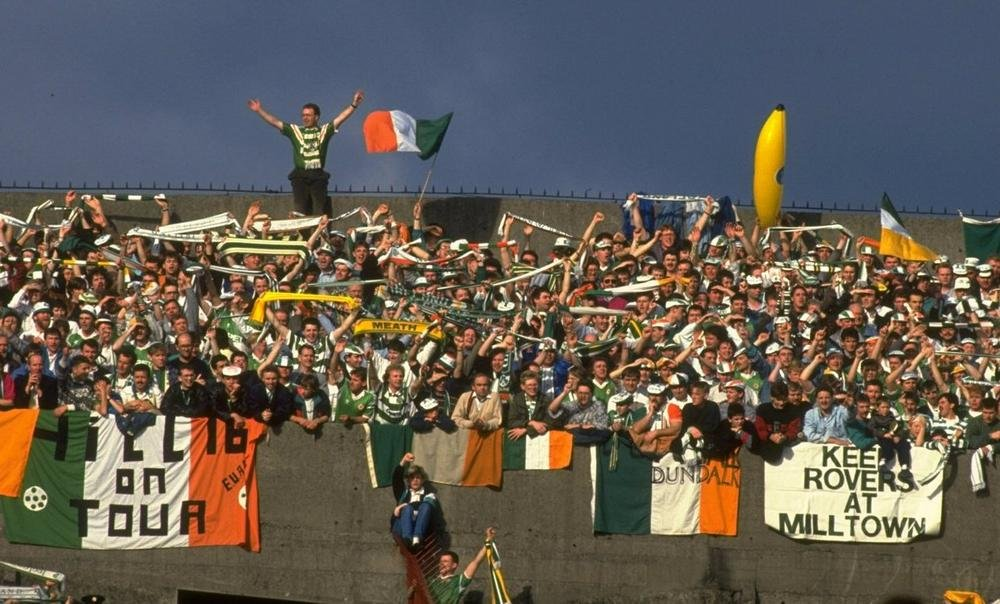 Italia 90 qualifier, love the Keep Rovers At Milltown banner in the mix and the inflatable banana!