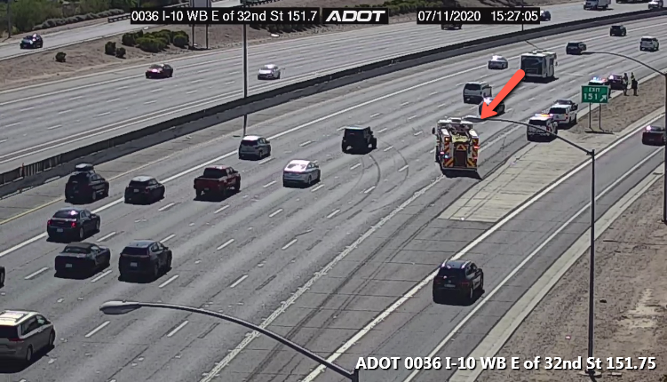 I-10 WB: Right lane blocked at 32nd St due to a crash. #phxtraffic