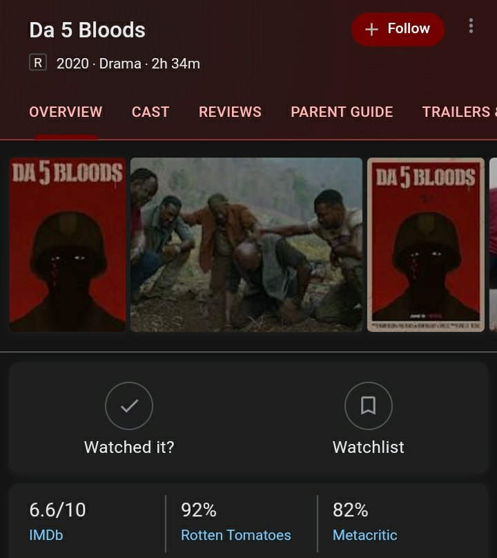 Just watched #Da5Bloods on Netflix (I'm late to this party). Damn good.  Delroy Lindo will be hoisting a Best Supporting Actor Oscar for his work in this film.   Caution to some: Graphic historical images throughout. pic.twitter.com/S7wBSoo1bF