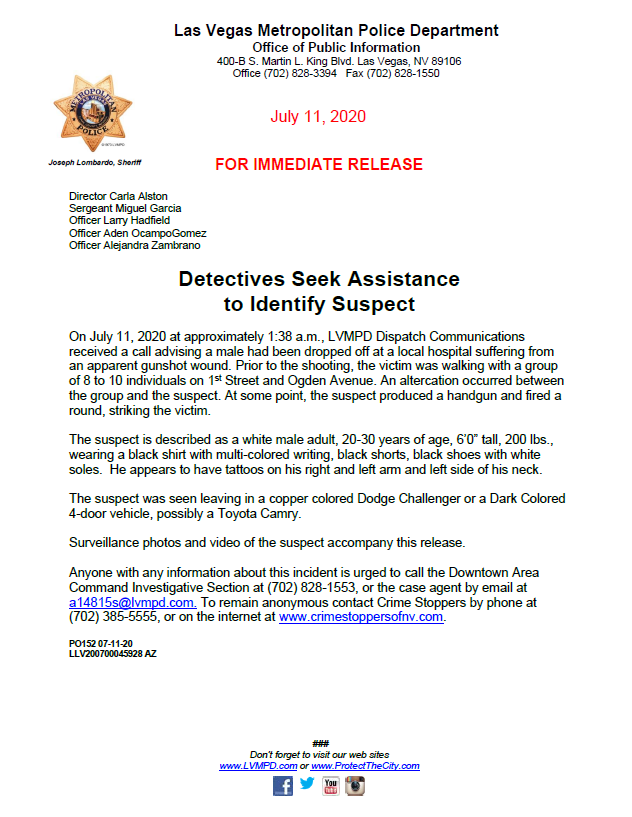 #LVMPD Detectives Seek Assistance to Identify a shooting suspect. #BreakingNews lvmpd.com/en-us/Press%20…