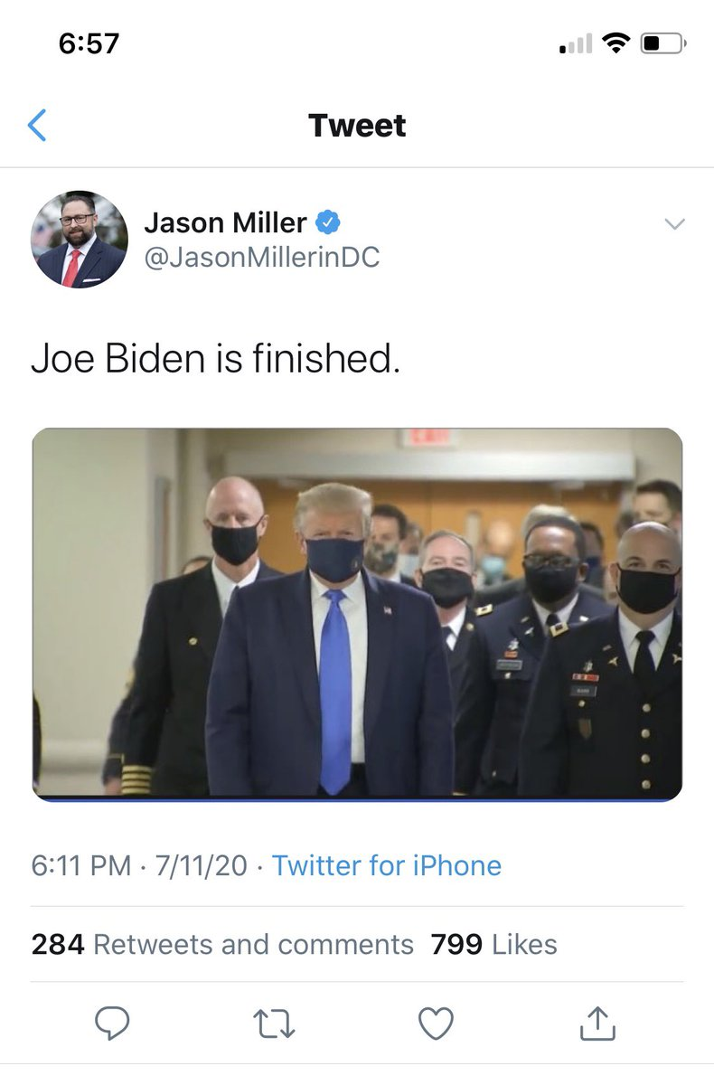 Trumps campaign appears to believe he has won the election by putting on a mask, which raises the question of why they resisted this tactically brilliant political move until after 133k deaths https://t.co/FHStWnVDLS