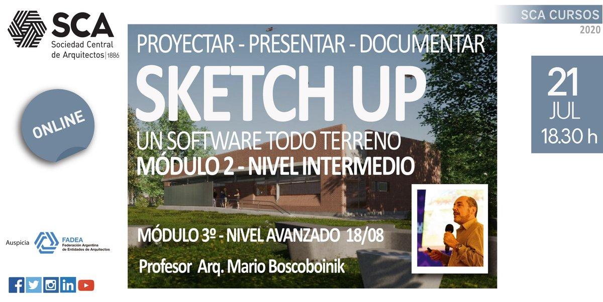 "INICIA EL MARTES A LAS 18:30 HORAS  MODULO INTERMEDIO - ""Sketch up - Un software todo terreno""  +info (programa, valores): https://t.co/iMsiCkaFFO  Consultas: cursos@socearq.org  ¡Te esperamos!  #sca #scacomisioncursos #sketchup #arquitectura https://t.co/iZrN4VZYxo"