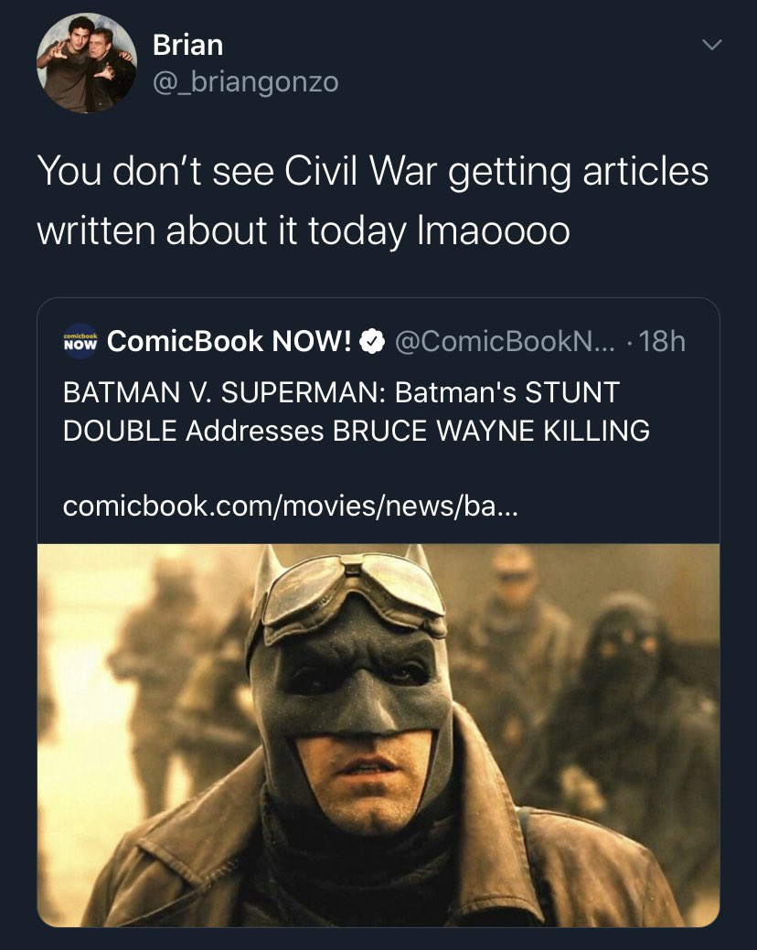 this is such a stupid take. civil war isn't getting articles written about it in 2020 because it didn't do anything to piss off comic book nerds