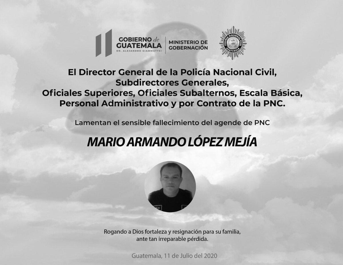 test Twitter Media - La @PNCdeGuatemala lamenta el fallecimiento del agente Mario Armando López Mejía. Murió a causa del COVID-19. https://t.co/VGvV8PVYUu
