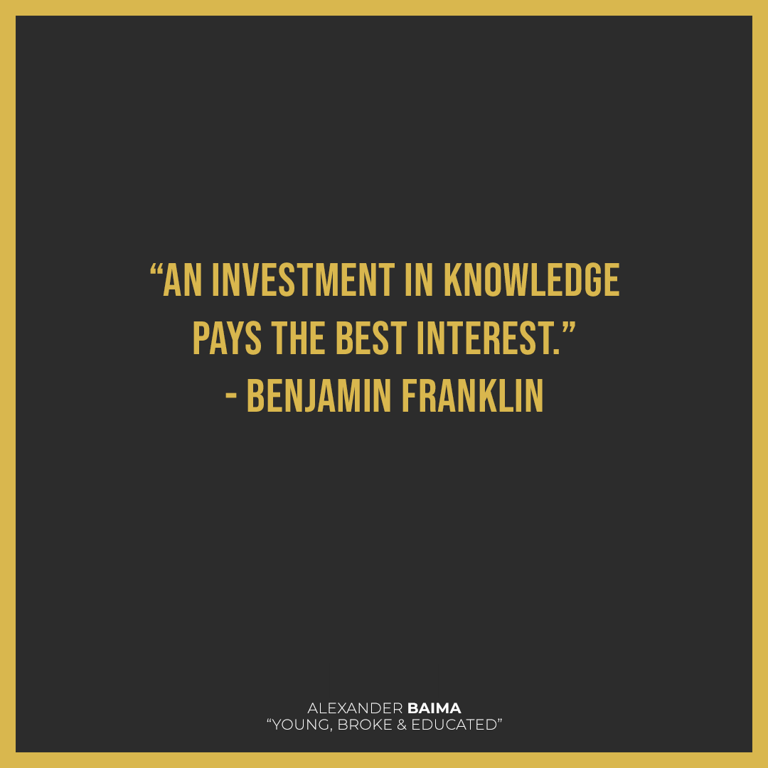 That's the best investment you will make! #book #booklover #lovebooks #books #millennals #growth #USeconomy #economy #lifestyle #socialism #young #broke #educated #finance #economics #poverty #internship #investment #investing #bitcoin #YoungBrokeandEducated #AlexanderBaima https://t.co/URcsJs4lCP
