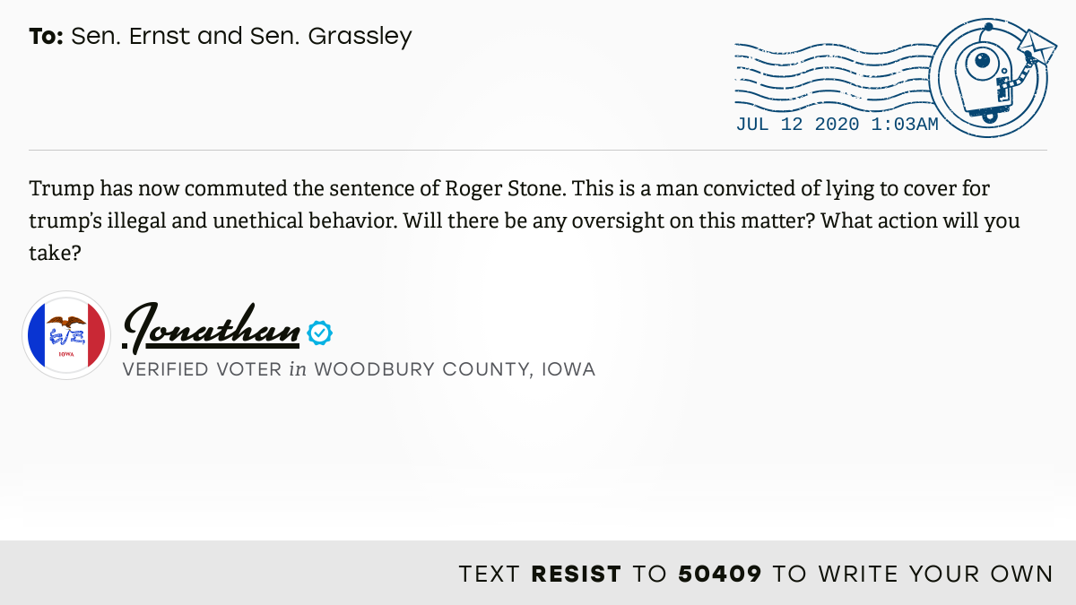 📬 I delivered this ✉️ from Jonathan, a 🗳 verified voter in Sioux City, Iowa, to @SenJoniErnst and @ChuckGrassley #IA04 #IApolitics  📝 Write your own: https://t.co/z5540KFSKD https://t.co/LrEQ8xJhQi
