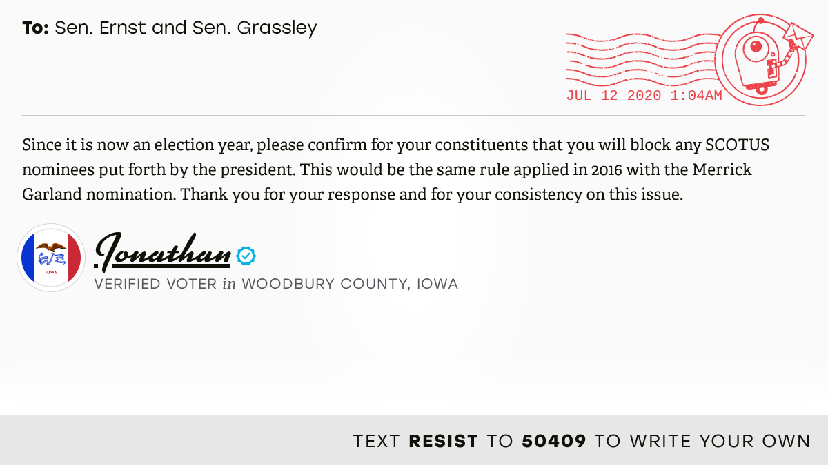 📬 I delivered this ✉️ from @jjjblum to @SenJoniErnst and @ChuckGrassley #IA04 #IApolitics  📝 Write your own: https://t.co/z5540KFSKD https://t.co/hC1EG0ya1b