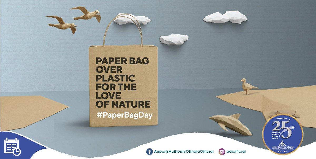 #PaperBagDay, the day to make a difference. It is time we become eco-friendly and make choices that are kinder to the environment. Just like most of #AAI Airports that are single-use plastic-free, #AAI urges everyone to choose Paper over Plastic. #AAICares #PaperBagDay2020 https://t.co/6dCZ4zBmGF
