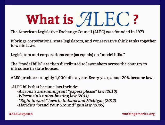 "@MotherJones Far beyond one Corp & a few bad politicians ...it's strategy. A framework to advance the RWing's agenda at local levels w/ the power of Corp support & funding. 👇👇👇 ""What is ALEC? The most effective organization for conservatives, says Newt Gingrich"" usatoday.com/story/news/inv…"