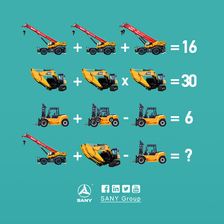 Check out the mathematical puzzle from SANY equipment. Have fun! #Sanywithyou https://t.co/OV1bQRJyvi