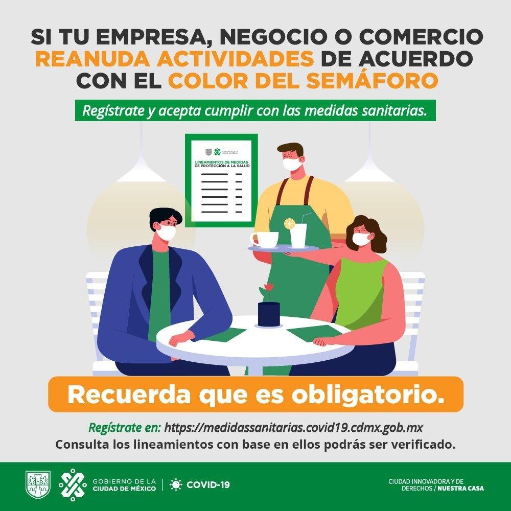 Hay actividades económicas que pueden volver a operar en 🚦🟠 #SemáforoNaranja. Entra aquí 👉 bit.ly/3fx1Cg4, busca si tu negocio 🏬 aplica y cuáles son las reglas para que puedas abrir. 👍 Juntas y #JuntosVamosASalirAdelante