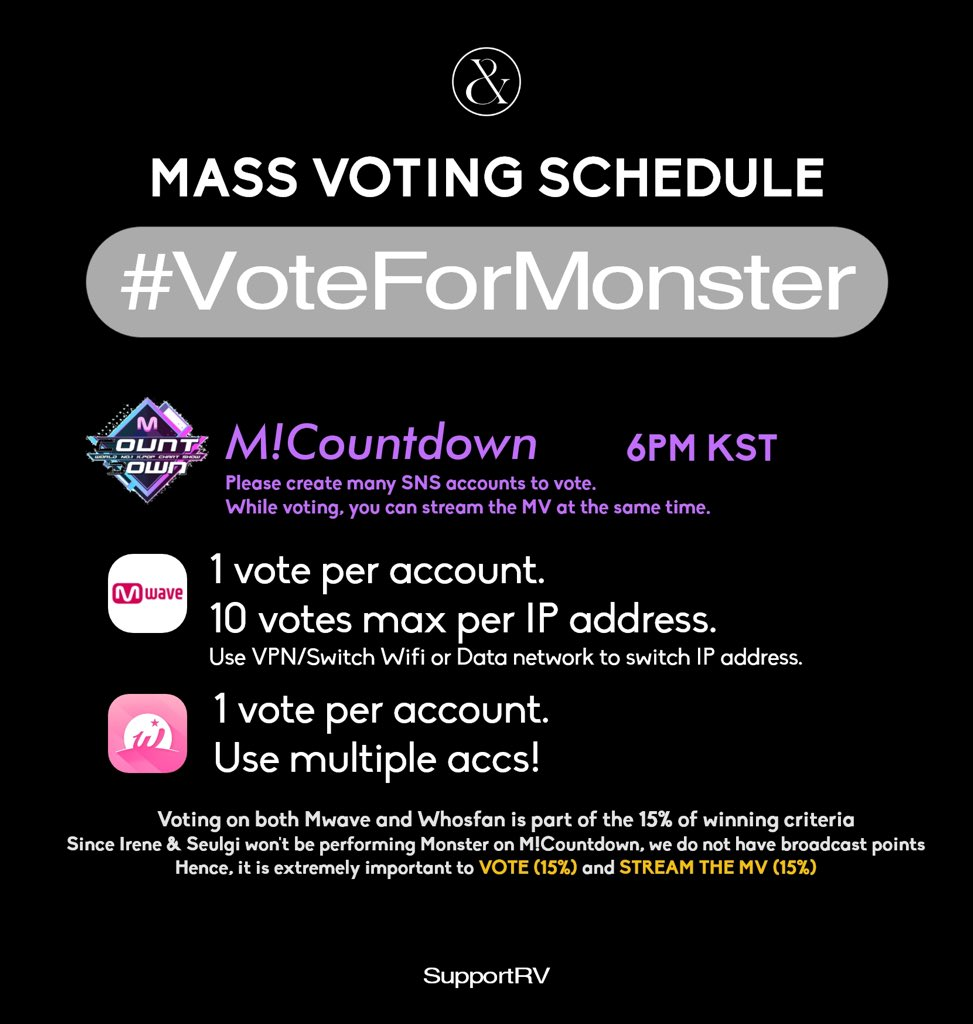 〔 update chara 〕。 RT SupportRV: [MASS VOTING SCHEDULE]  ➼M!Countdown: 6PM KST (on Mwave & Whosfan)  ➼Show Champion: 10PM KST (on Idol Champ)  Prior to the start of mass voting, create more accs (especially for M!Countdown) & prepare more devices… pic.twitter.com/sLBN9316Wm