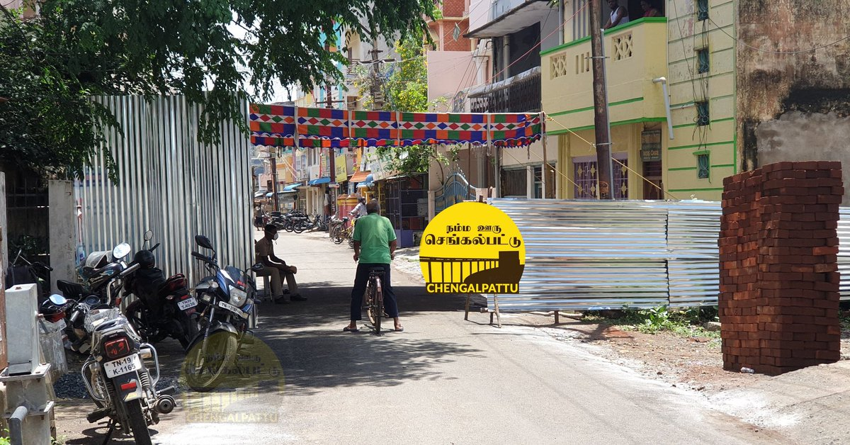 In #chengalpattu High Road ,Chinna Maniyakara St also blocked. Only one way was allowed in both streets to enter and exit.   Credits : Venkatesh pic.twitter.com/d7z523rymw