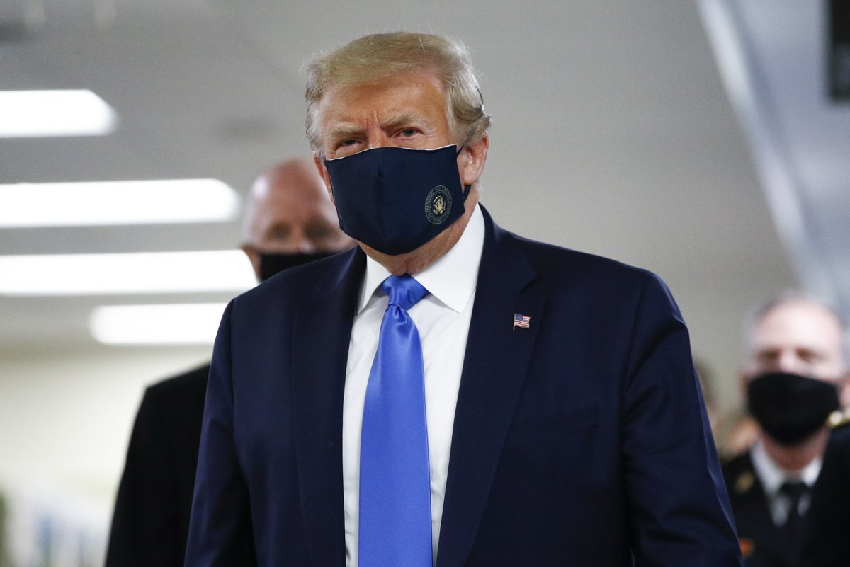 Oh thank god, the president's finally wearing a mask.