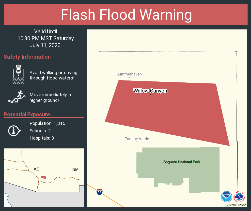 Flash Flood Warning including Willow Canyon AZ until 10:30 PM MST https://t.co/zMLwtNeoGt