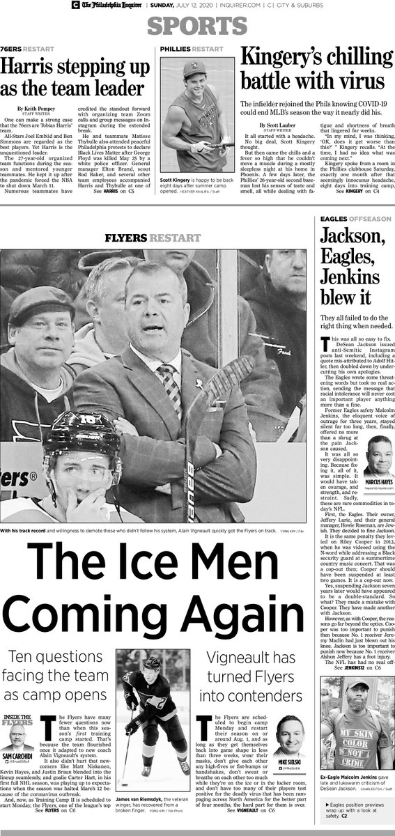 THE ICE MEN COMING AGAIN @PhillyInquirer Sports July 12: @MikeSielski & @BroadStBull on #Flyers; @ScottLauber on Scott Kingery's COVID-19; @PompeyOnSixers; @inkstainedretch on all fumbling #Eagles DeSean Jackson case. @APSE_sportmedia @PrideInPrint  Headline: @NickCristiano https://t.co/5bSyNnyfzO