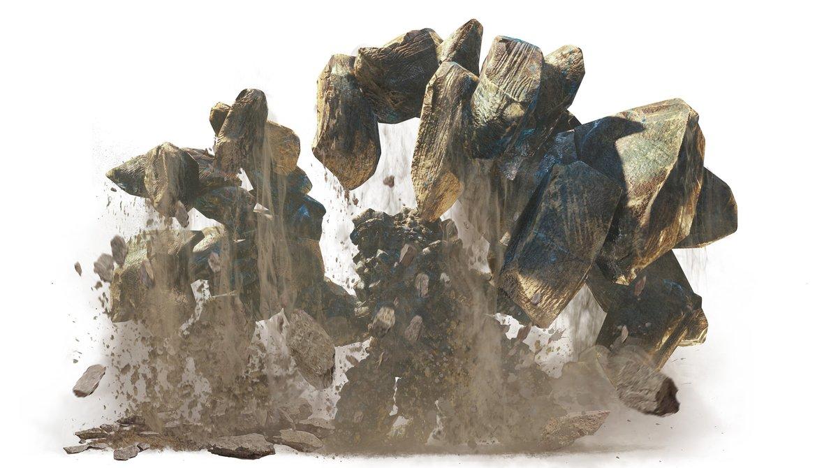 ▼地啼龍(じていりゅう)アン・イシュワルダ地脈に影響を与えるとされる、謎多き古龍。翼の先端にある振動器官を地面に突き立てることで地形を変化させ、足場を奪うこともあるという。 #MHWアイスボーン