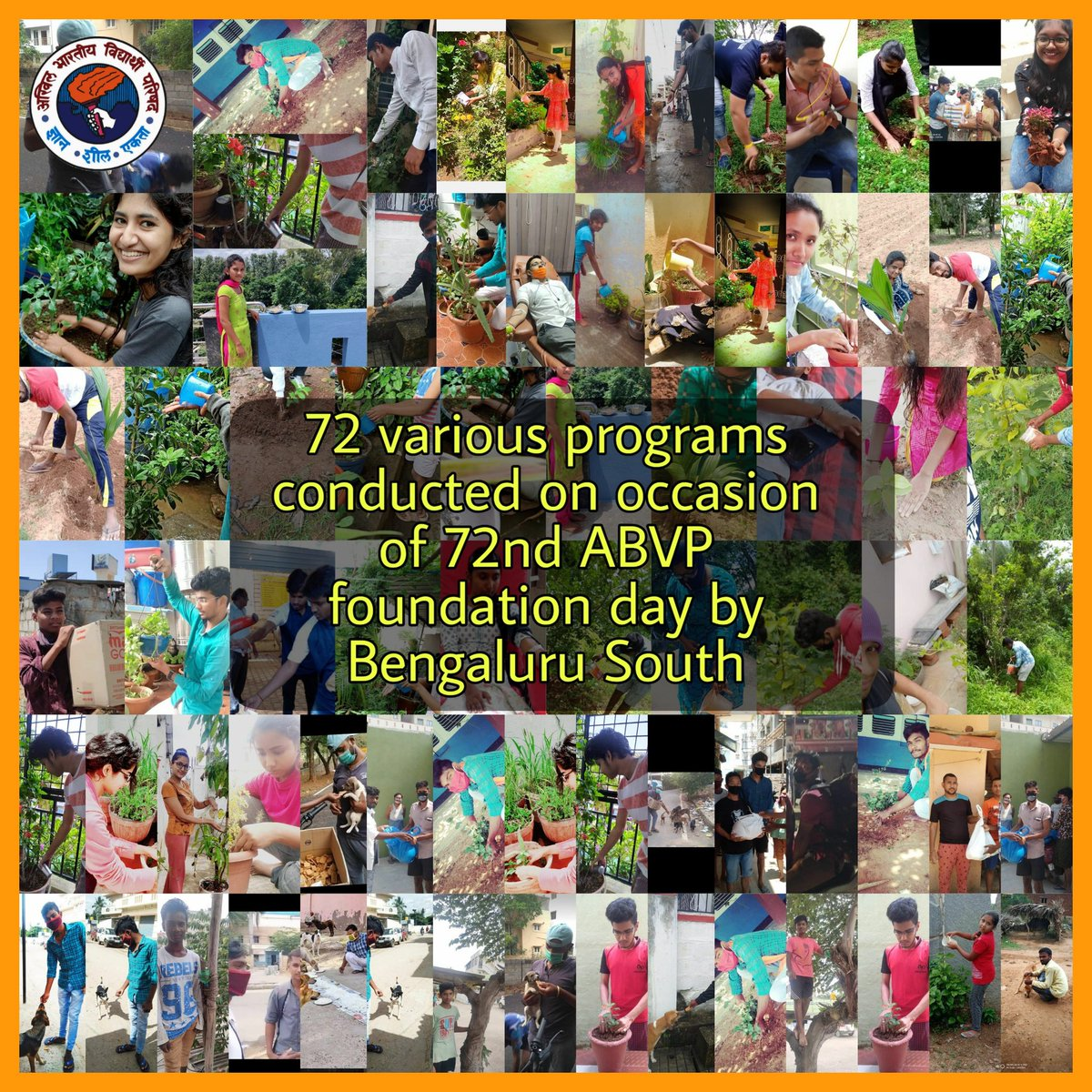 ABVP Bengaluru South conducted 72 various programs by Karyakartas at their house by planting saplings, cleaning the surroundings, feeding animals, etc. on the occasion of 72nd ABVP foundation day. #NationalStudentsDay #ABVPForSociety https://t.co/gLLNP4m8lr