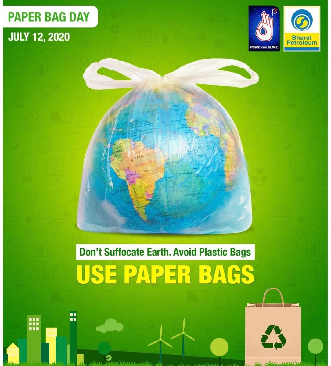 This Paper Bag Day, do your bit for the environment by pledging to avoid polythene/plastic bags and replacing them with paper. #PaperBagDay #EnvironmentDay  #SaveEarth #Recycle #SaveEnvironment #BPCL #SwachhBharat #SwachhtaPakhwada2020 #BharatPetroleum #EnergisingLives https://t.co/p2IYZESU8P