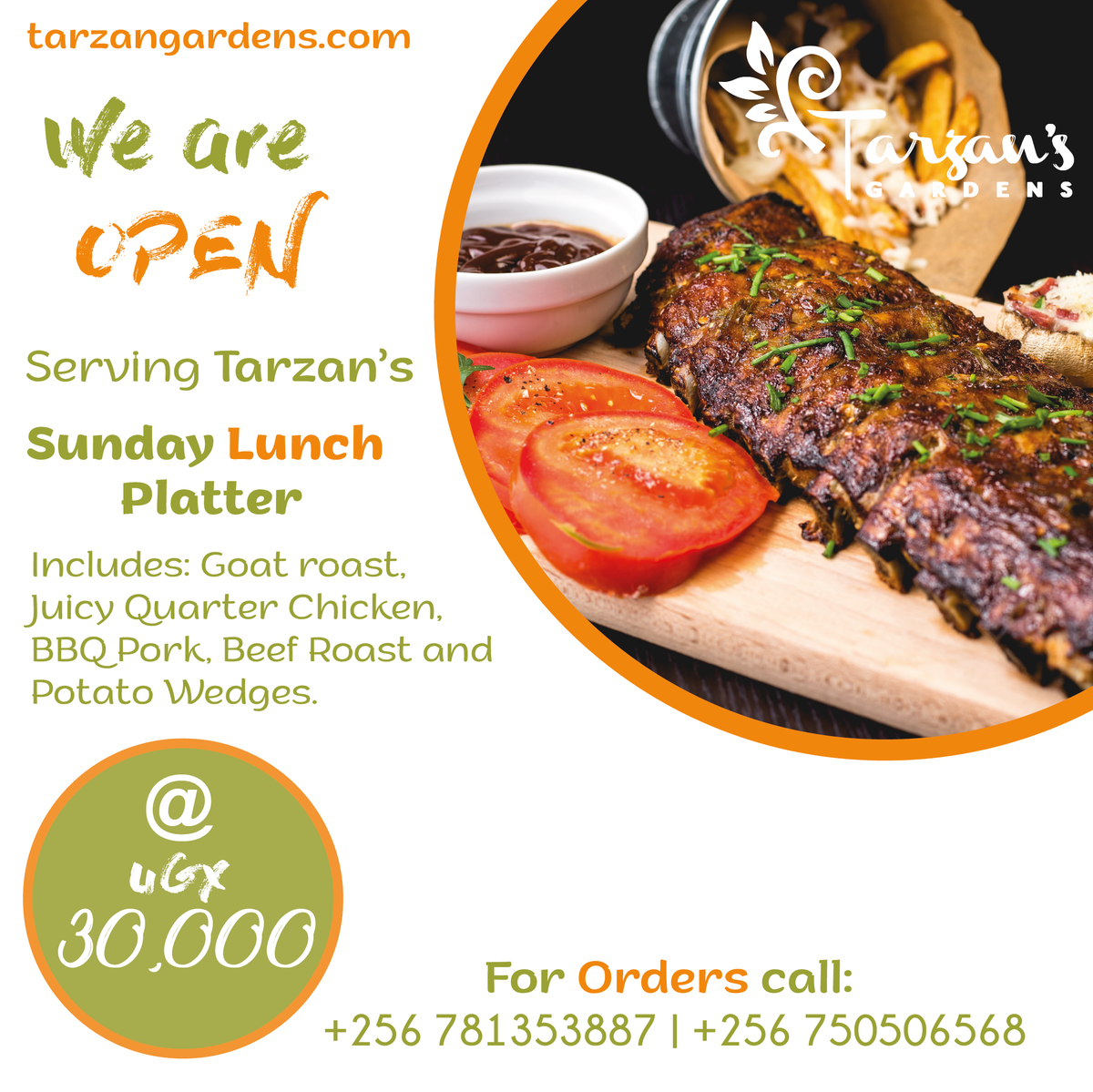 FOR THE LOVE  OF MEAT!   We present the Tarzan Sunday Lunch Platter. Comes with Goat Roast, Juicy Quarter Chicken, BBQ Pork, Beef Roast and Potato Wedges for only UGX. 30,000. Nothing can beat this !   Order now to get sorted +256 781353887, +256 750506568 . <br>http://pic.twitter.com/D0bxJNIIGu