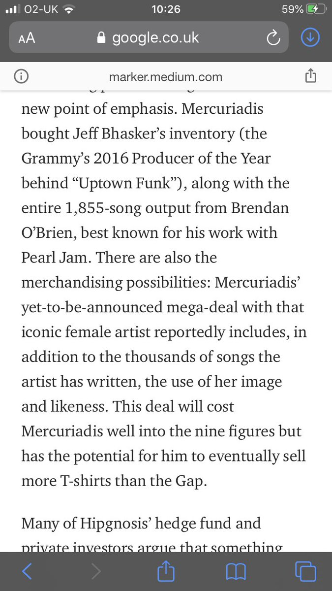 This interview from January hints at Hipgnosis 9 figure buy out of a female performers entire catalogue and image. They now have the cash to do it after the raise. Has to be Madonna surely. Wonder if these discussions are still on the table. #song