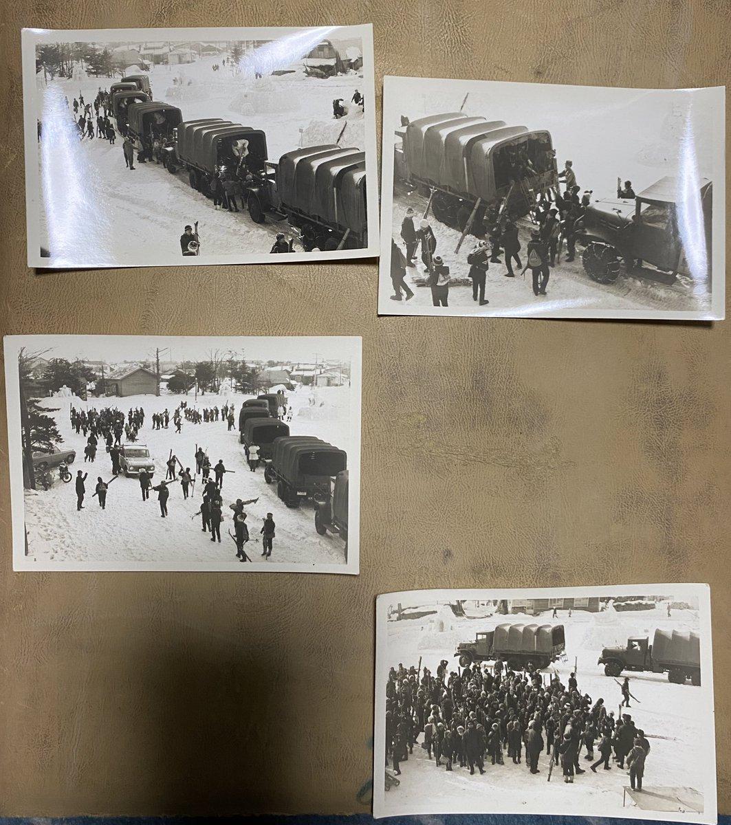 祖父の遺品整理での一コマ昭和49年のに含まれていたのですが、詳細不明北方のトラックから下車するスキー学習小学生