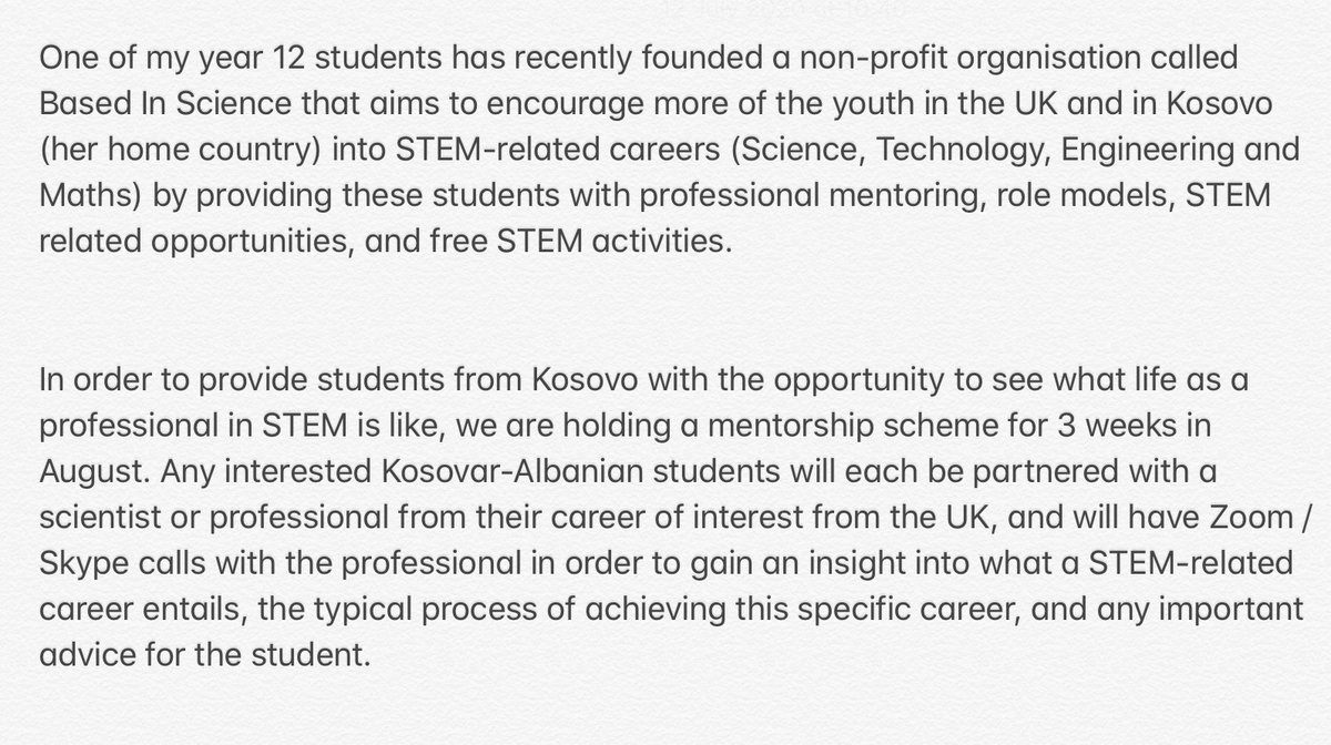 Can anyone in a STEM related field support one of my amazing science students with her mentoring project for students in Kosovo? 1 hour a week for 3 weeks in August.  #STEM #STEMeducation #edutwitterpic.twitter.com/vTj3YpEcaF