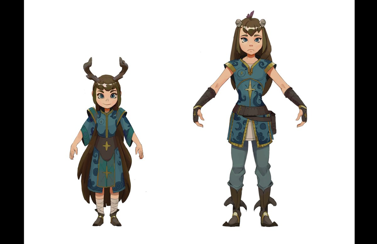 Just two character exploration for the horn girl (for childhood/real story). Character is really out of confort zone, but I'll do more of them with action, and with the others characters of the story, soon, I hope! #characterpic.twitter.com/JV1c6NVH9m