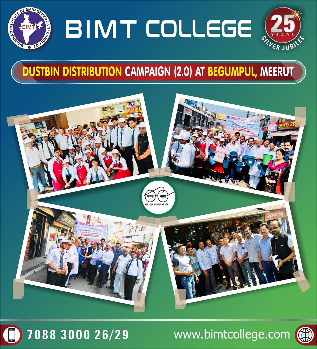 """⭐️Dustbin Distribution Campaign (2.0)⭐️ by BIMT Swachh Club Volunteers to all Shopkeepers at Begumpul Market  , Meerut for promoting """"SWACHH BHARAT ABHIYAN""""   Learn more: 🌍 https://t.co/owD9d6dtws  #BIMTSwachhClub #SwacchBharatAbhiyan #BIMT #IT #College #Meerut #CCSU #AKTU #hap https://t.co/yQL9FCStN5"""