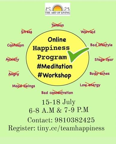 Join  Online Happiness Program: The Key of Happiness.   Register on https://t.co/9Y6D2ySPE1   #staysafe #teamhappiness  #WorldMeditates https://t.co/i8TpO4TYD0