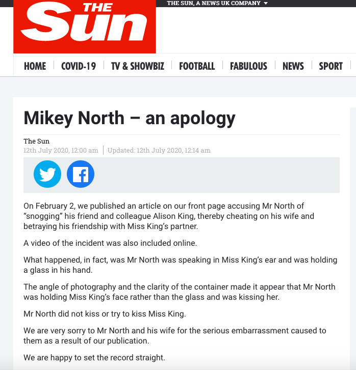 As #MikeyNorth isnt on social media, please feel free to RT to help twitter read The Suns apology. 😘
