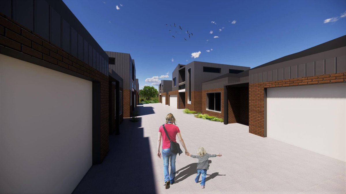 Location: Kewdale WA Here is six units residential project in concept design stage. A common driving way of the middle and little garden, which connect all of the houses to create a small community and enhance social interaction. #six #units #residential #industrial #style