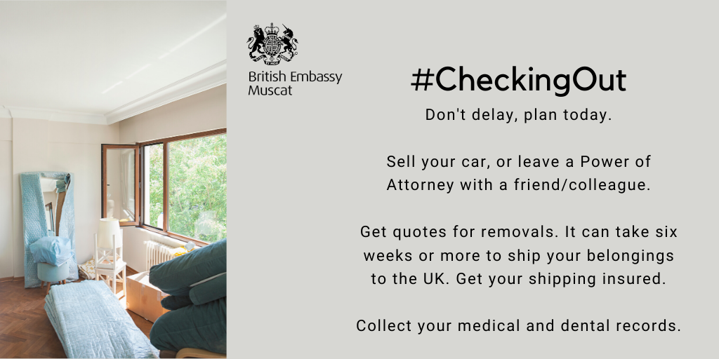#CheckingOut - dont delay, plan today 📆 If you are leaving Oman permanently, sell your car before you leave or arrange a Power of Attorney. Make sure you get insurance to cover shipping your belongings home. gov.uk/world/living-i… #TravelAware
