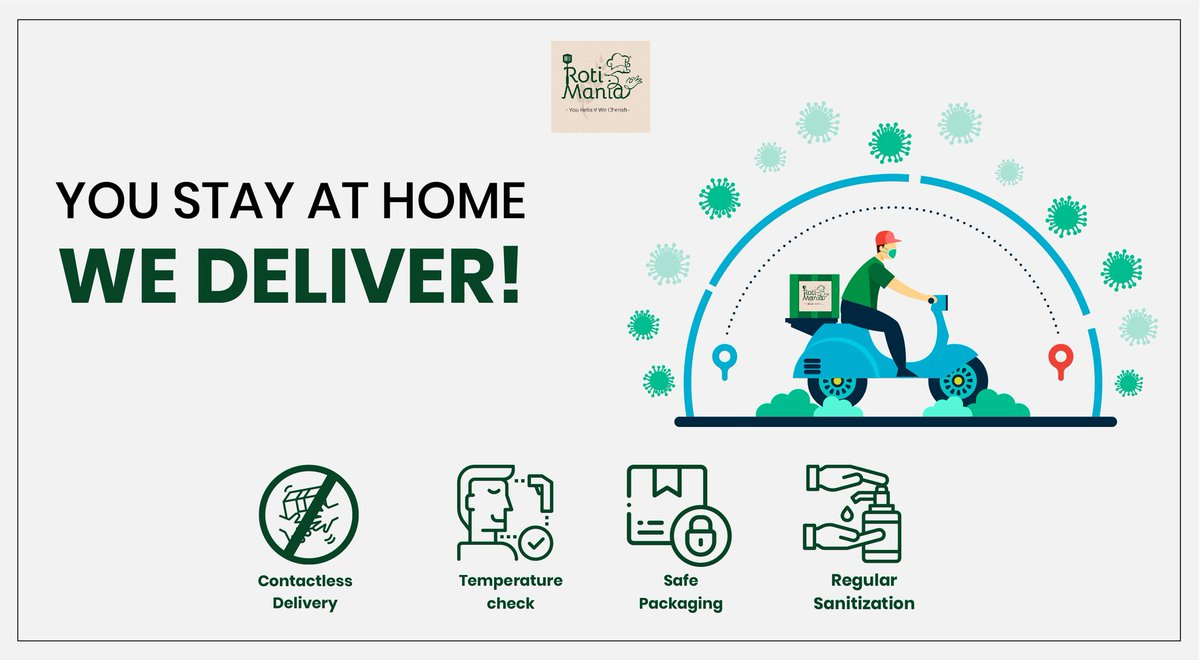 We are ensuring all safety precautions to ensure contactless delivery with the help of regular sanitation and safe packaging! Contact us on +917977921174, 9833190268 or write to us on rotimania28@gmail.com #healthyfood #localfood #golocal #vocalforlocal #rotimania #bulkroti
