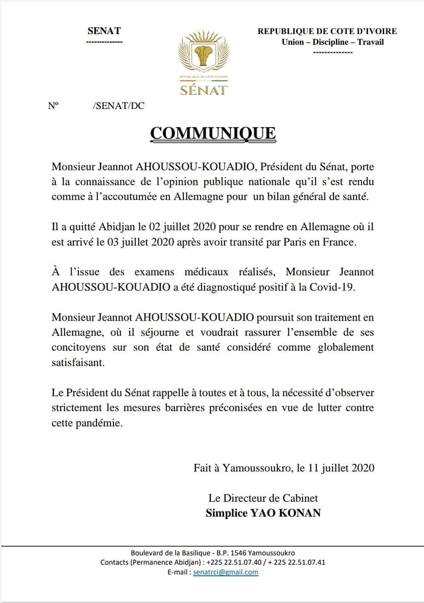 #civ225 #COMMUNIQUÉ Le Président du Sénat Côte d'Ivoire , Jeannot Ahoussou-Kouadio déclaré positif à la Covid-19, en Allemagne. https://t.co/t74YTc5IMB