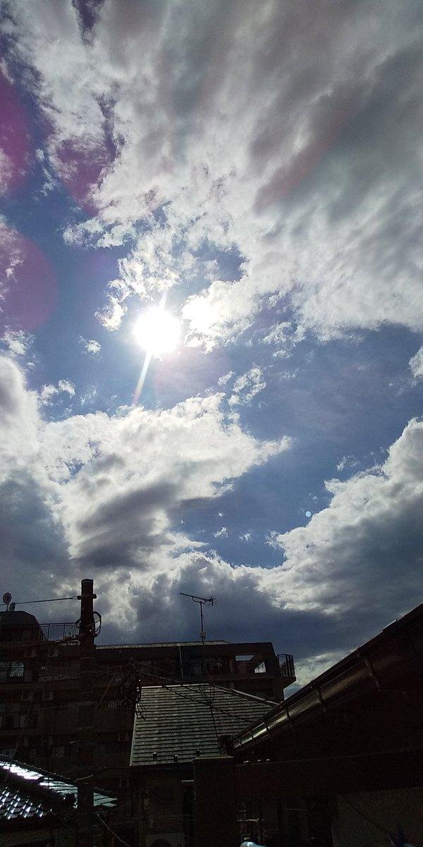今日のお空!何日ぶりかな?朝から良い天気でした(^^)午前中は、お墓掃除草むしり等々してましたが、あまりの暑さで程々にして撤収(^^;帰りに買い出しの為スーパーへ♪暫く冷凍食品売り場で涼みした(^^)v明日はまたまた梅雨空に戻るようです。早くも雲行き怪しいです!Σ(×_×;)!