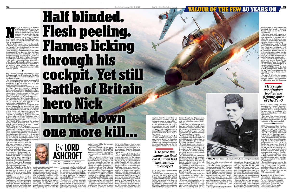 """My article in The Mail on Sunday (@MailOnline) on Wing Commander """"Nick"""" Nicolson VC who was the only Battle of Britain pilot to be awarded the VC  #BoB80 #BattleofBritain #TheFew #LestWeForget https://t.co/2a1WgXCFDa"""