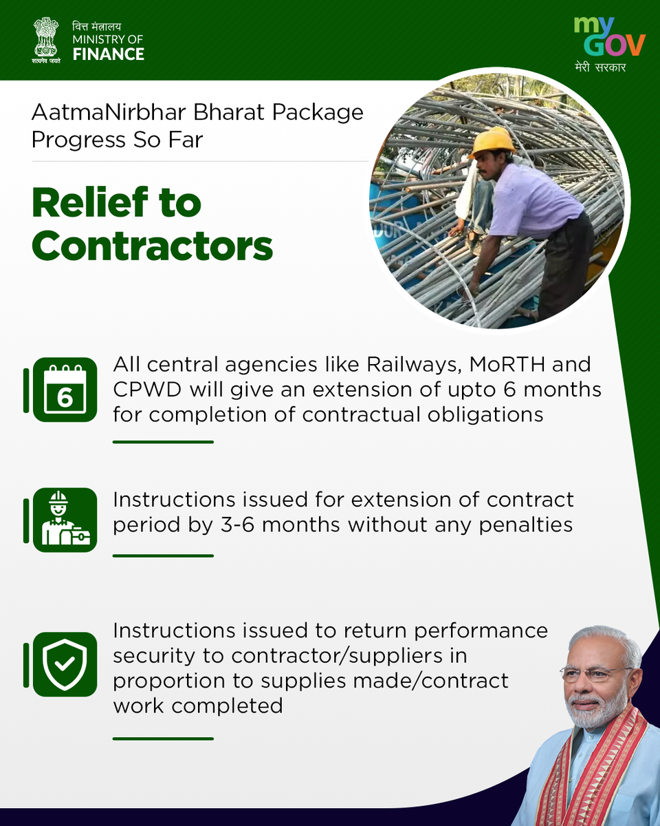 Government is providing all-round relief to the Contractors. #AatmaNirbharBharat https://t.co/voPQh6JXvn https://t.co/7TtPjfZV9J