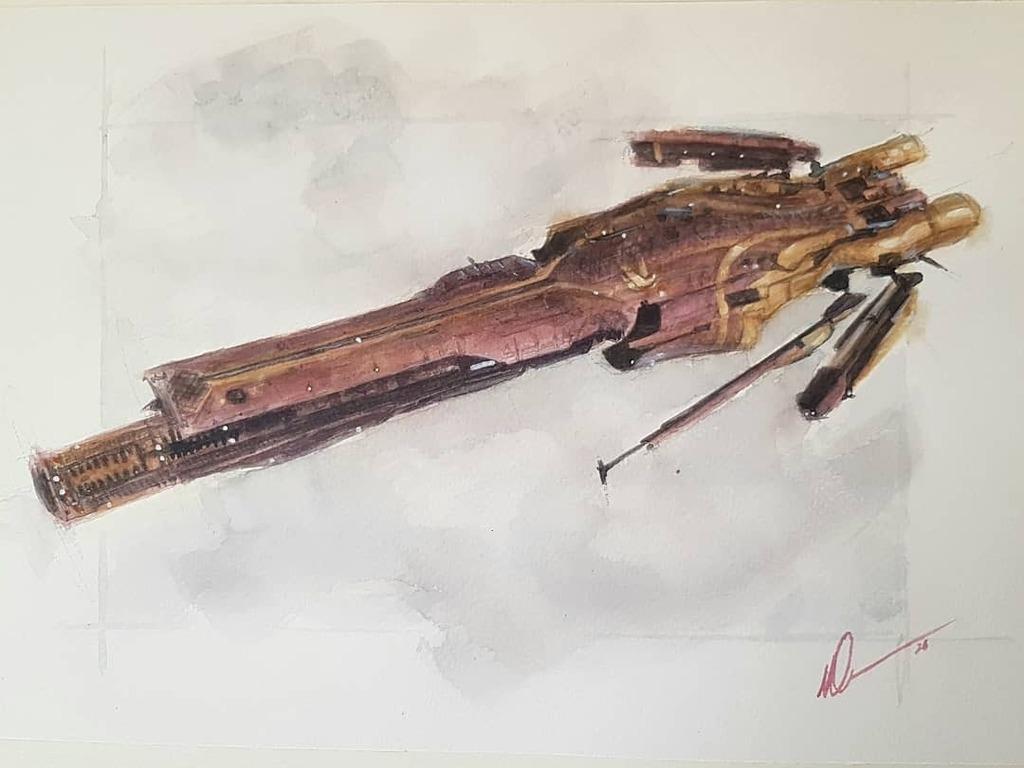 Imperial Jubilee Confessor, #eveonline . #tweetfleet #watercolor #spaceships #contemporaryartist #contemporaryscifi #lloydgeorge #scifidaily #dailyscifi #painting #art #artofagamerpic.twitter.com/CkkiBLrHPl