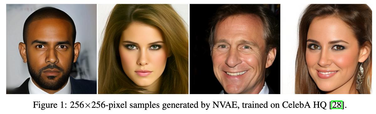 NVAE: A Deep Hierarchical Variational Autoencoder  ボケない巨大VAE.VAEを高度に階層化しRes構造,BN,SE,swishを盛った構造を導入,残差正規分布,スペクトラル正則化,Normalizing Flowによる事後分布の近似による学習の安定化によって高解像度のVAEを実現.