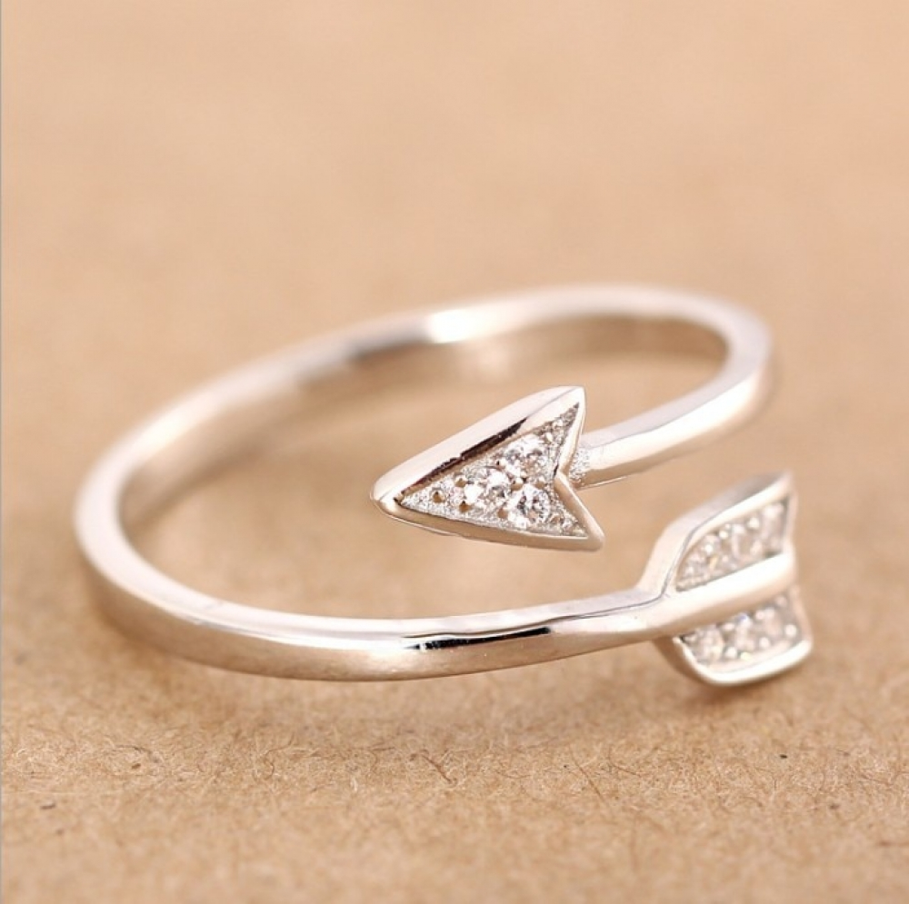 SHARON - Silver Plated Arrow Crystal Ring for Women -    #jewelry #earrings #rings #bracelets #jewel