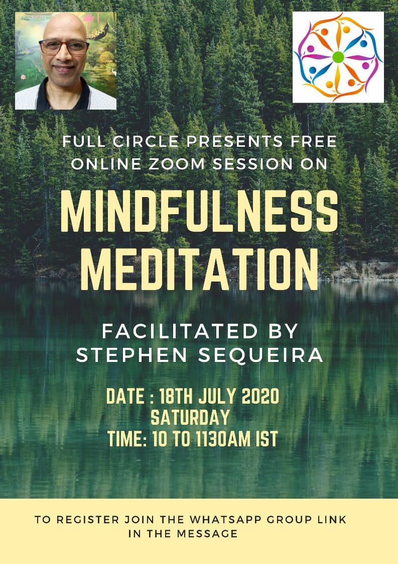 MINDFULNESS MEDITATION 18th July 2020 Saturday  10 to 1130am IST FREE Online Zoom Call Facilitated by Stephen Sequeira 1. Breath awareness  2. Sound awareness  3. Body Scan  to register for this Free event join the whatsapp group👇 https://t.co/nF2hZrSmwD  #mindfulnessmeditation https://t.co/D1Bsn4jS2M