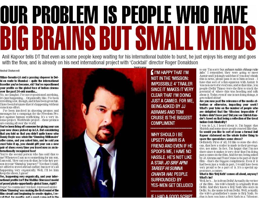 """""""...nobody was willing to take the movie seriously. I sent the response it had got in Toronto, where everyone said it will pick up an Oscar, and a journalist called me back to say 'I'm sorry but yahaan nahin chhaap rahe isko.'""""  @AnilKapoor on #Slumdog #thisdaythatyear 12/7/2011 <br>http://pic.twitter.com/OeWvZvcgIx"""