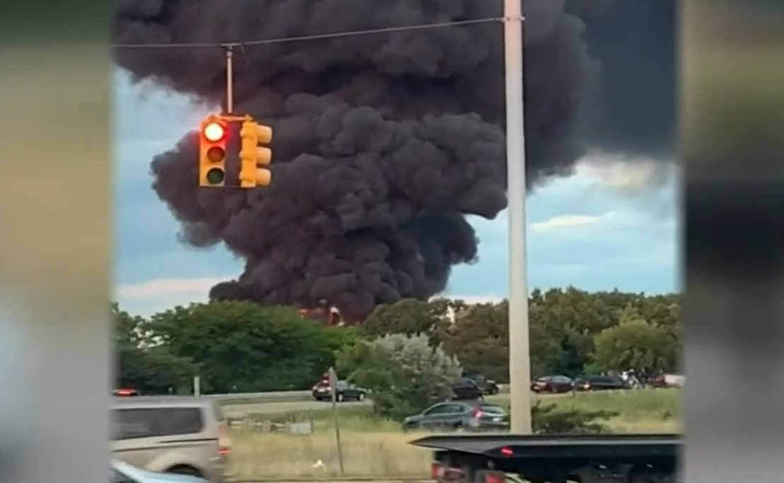 An overturned tanker truck loaded with gasoline erupted in flames Saturday night on an interstate onramp in Bloomfield Twp., Michigan. #FireWorld #Industrial #IFW #iFIREInternational