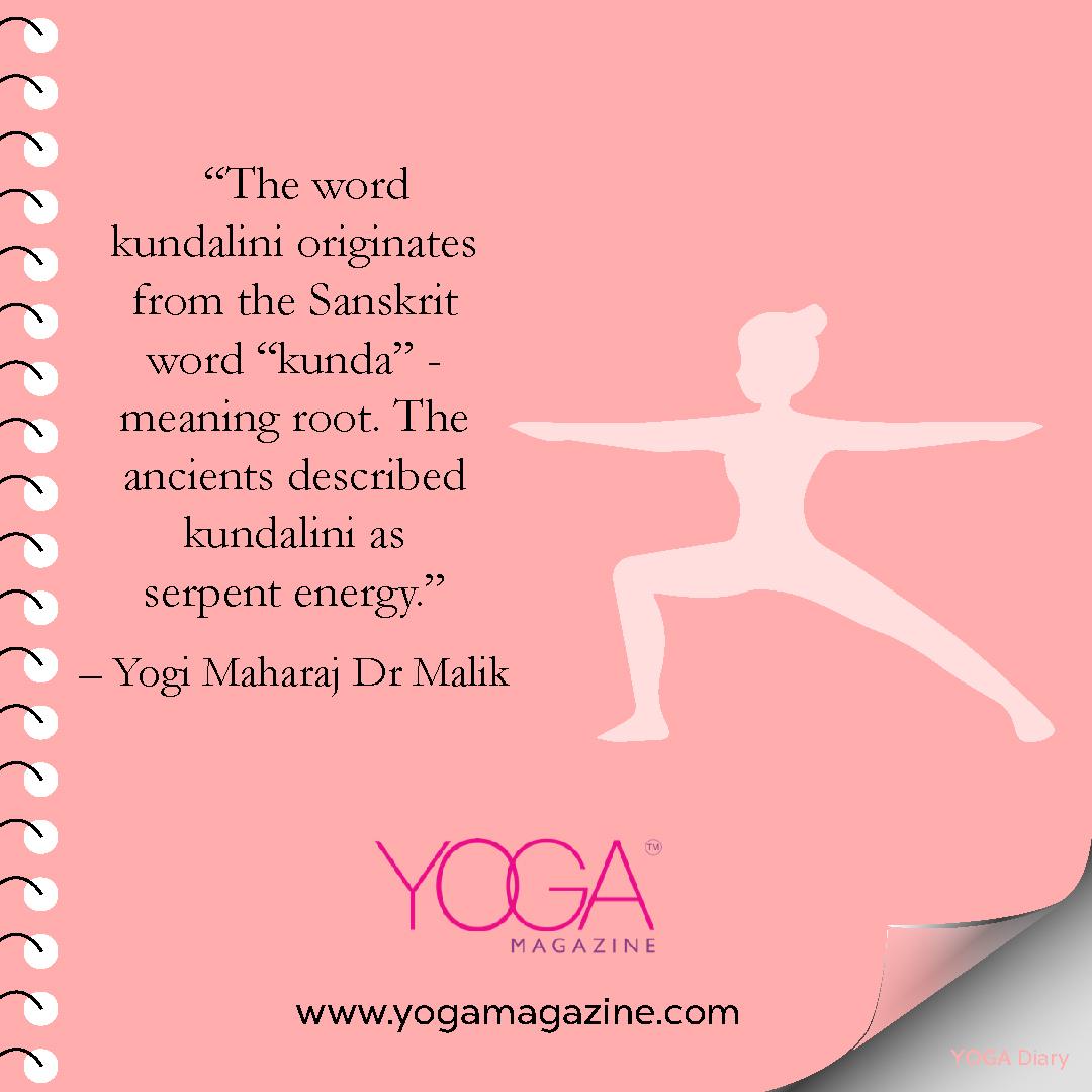 """#Quoteoftheday """"The word kundalini originates from the Sanskrit word """"kunda"""" ‑ meaning root. The ancients described kundalini as serpent energy."""" - Yogi Maharaj Dr. Malik @myyogamagazine   #yoga #yogalife #fitness #healing #mindfulness #yogi #workout #lifestyle #stayhomestaysafepic.twitter.com/Nb2elkHKDB"""