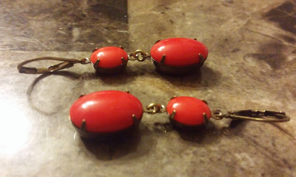 Excited to share the latest addition to my #etsy shop: Cherry Red Gems Patina Brass Setting Earrings  #red #women #stone #victorian #earlobe #cherry #gems #brass #patina
