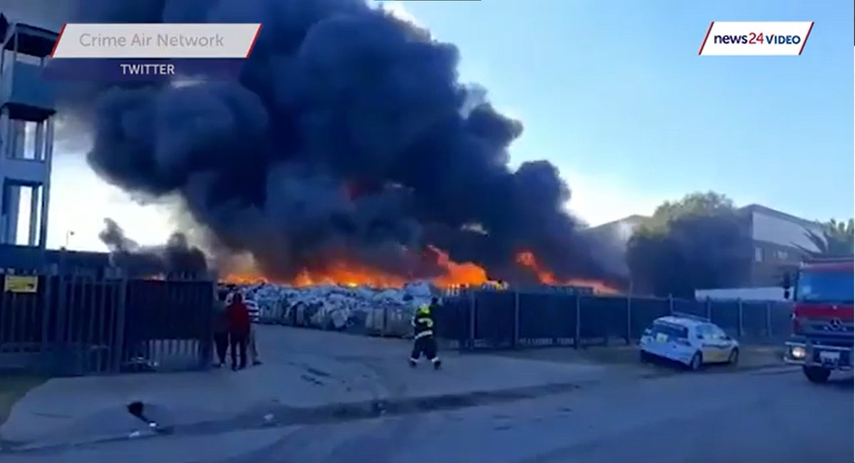 Flames swept through material stored outdoors at a recycling plant Sunday morning near Johannesburg, South Africa. #FireWorld #Industrial #IFW #iFIREInternational