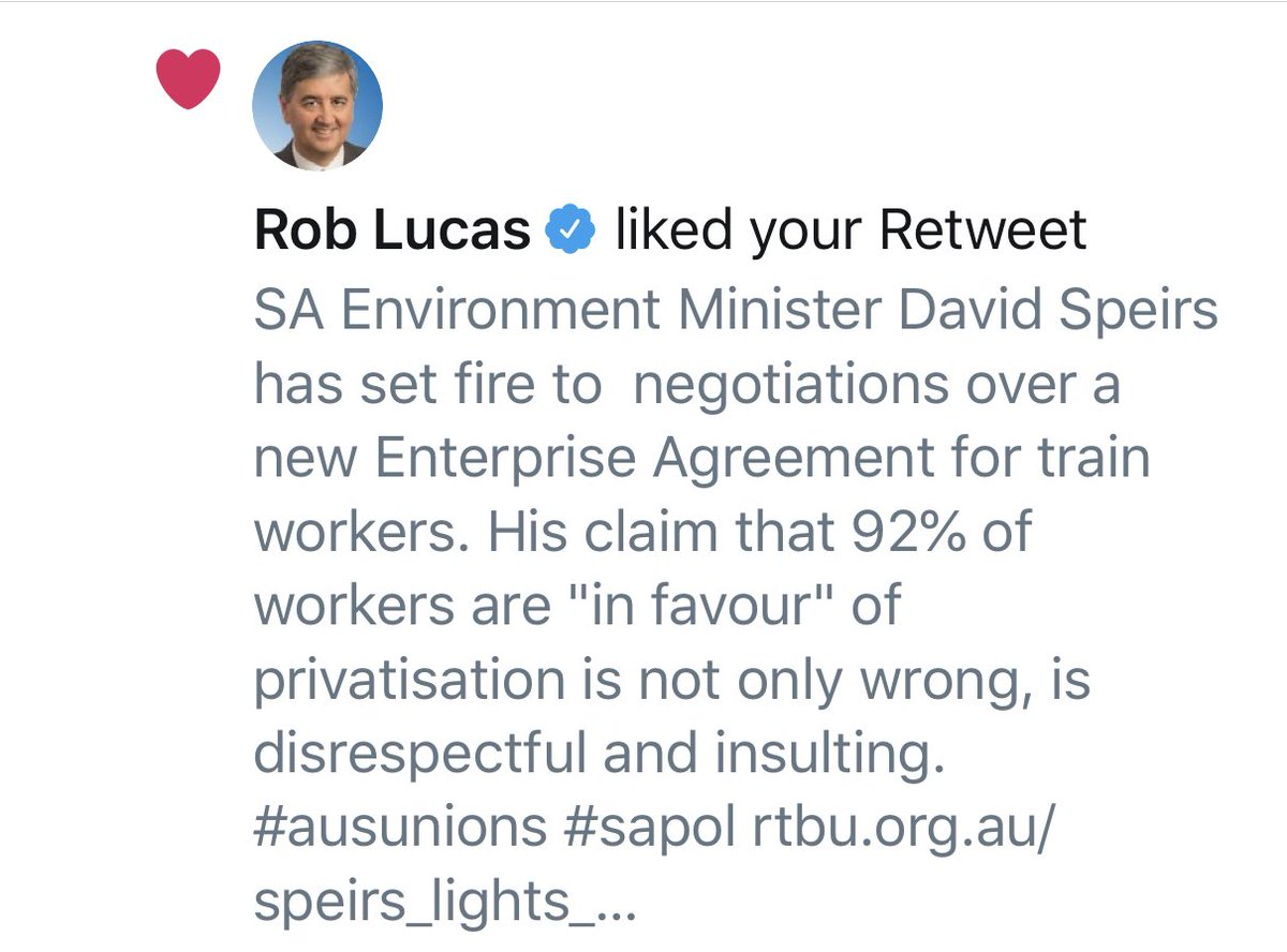 Someone seriously needs to teach @Rob_Lucas Twitter.   He just liked @RBTUnion tweet pointing out the damage Minister Speirs has done to a EB negotiations according to the RBTU.   Rob either agrees with the union or can't use Twitter.   I doubt he's ever agreed with a union... https://t.co/g5TrpJCCgd