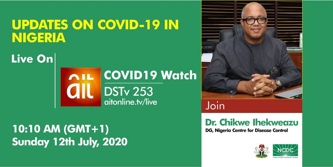 📢 COMING UP!!!  This morning on #COVID19Watch, DG @Chikwe_I will be live to discuss the latest on Nigeria's response to the pandemic.  Tune to @OfficialAITlive on DSTV Channel 253.  Time - 10:10am  #TakeResponsibility https://t.co/21lmpFrao3